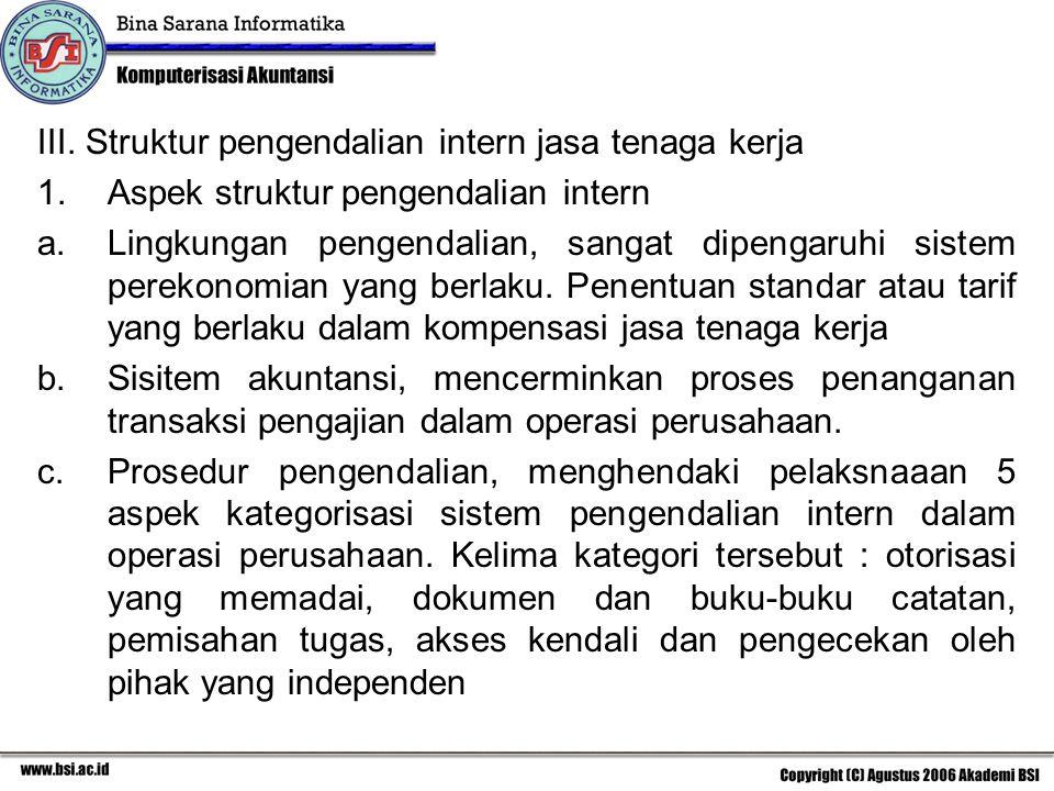 III. Struktur pengendalian intern jasa tenaga kerja 1.Aspek struktur pengendalian intern a.Lingkungan pengendalian, sangat dipengaruhi sistem perekono