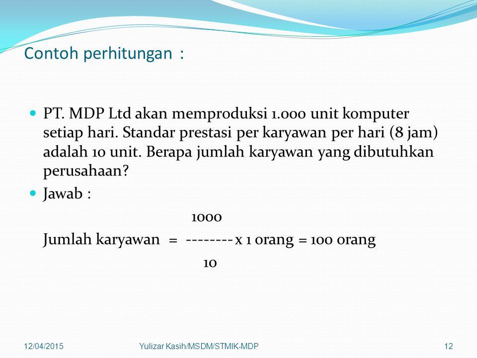 Contoh perhitungan : PT. MDP Ltd akan memproduksi 1.000 unit komputer setiap hari. Standar prestasi per karyawan per hari (8 jam) adalah 10 unit. Bera
