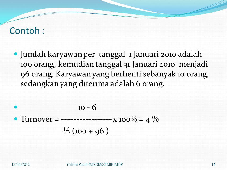 Contoh : Jumlah karyawan per tanggal 1 Januari 2010 adalah 100 orang, kemudian tanggal 31 Januari 2010 menjadi 96 orang. Karyawan yang berhenti sebany