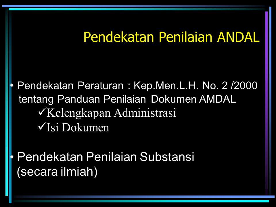 Pendekatan Penilaian ANDAL Pendekatan Peraturan : Kep.Men.L.H. No. 2 /2000 tentang Panduan Penilaian Dokumen AMDAL Kelengkapan Administrasi Isi Dokume