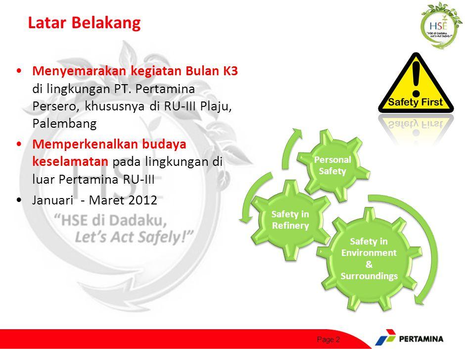 Menyemarakan kegiatan Bulan K3 di lingkungan PT. Pertamina Persero, khususnya di RU-III Plaju, Palembang Memperkenalkan budaya keselamatan pada lingku