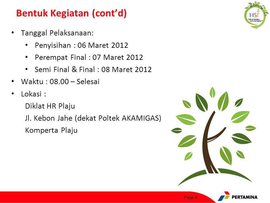 Page 4 Bentuk Kegiatan (cont'd) Tanggal Pelaksanaan: Penyisihan : 06 Maret 2012 Perempat Final : 07 Maret 2012 Semi Final & Final : 08 Maret 2012 Wakt