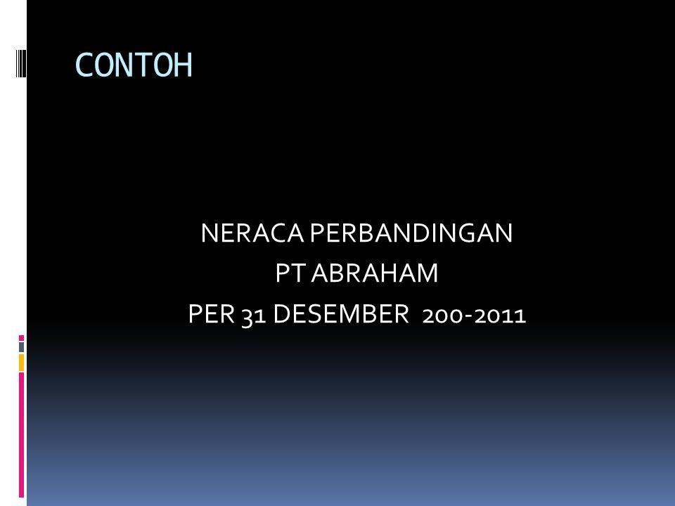 CONTOH NERACA PERBANDINGAN PT ABRAHAM PER 31 DESEMBER 200-2011
