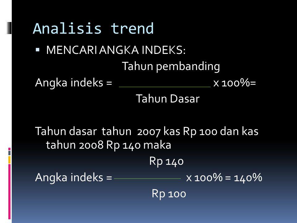 Analisis trend  MENCARI ANGKA INDEKS: Tahun pembanding Angka indeks = x 100%= Tahun Dasar Tahun dasar tahun 2007 kas Rp 100 dan kas tahun 2008 Rp 140
