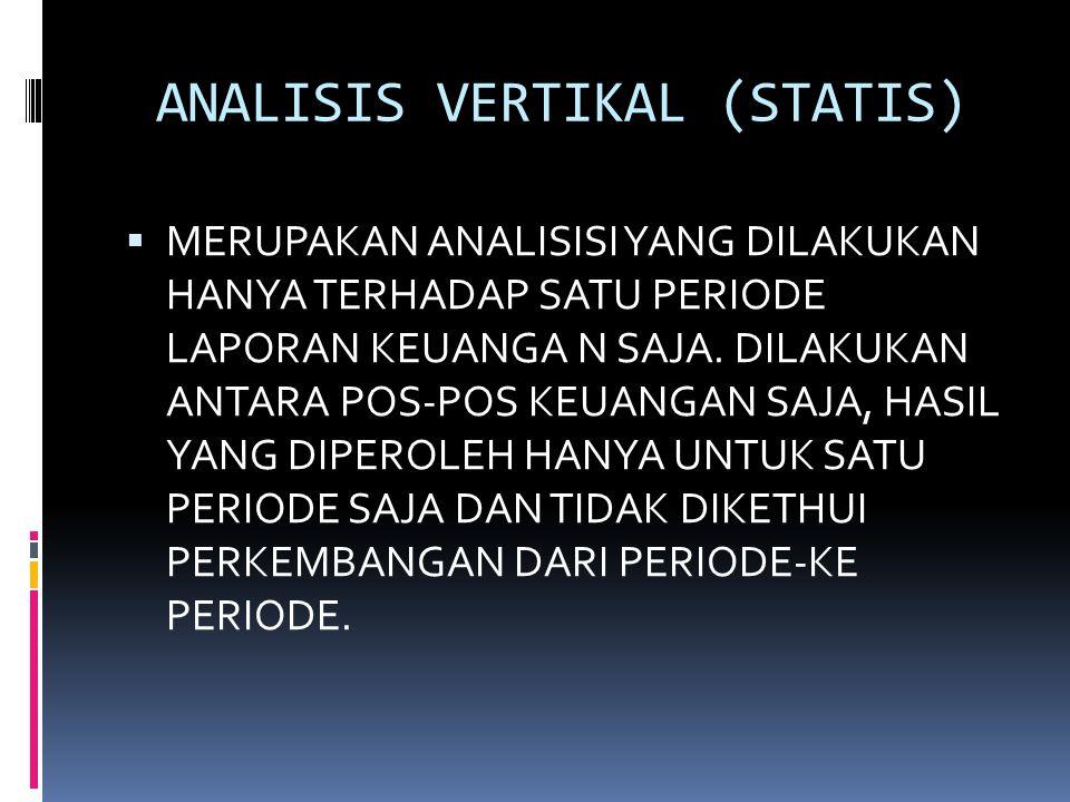 ANALISIS VERTIKAL (STATIS)  MERUPAKAN ANALISISI YANG DILAKUKAN HANYA TERHADAP SATU PERIODE LAPORAN KEUANGA N SAJA. DILAKUKAN ANTARA POS-POS KEUANGAN