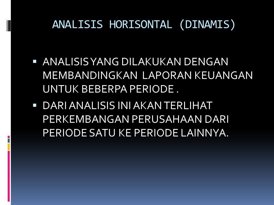 ANALISIS HORISONTAL (DINAMIS)  ANALISIS YANG DILAKUKAN DENGAN MEMBANDINGKAN LAPORAN KEUANGAN UNTUK BEBERPA PERIODE.  DARI ANALISIS INI AKAN TERLIHAT