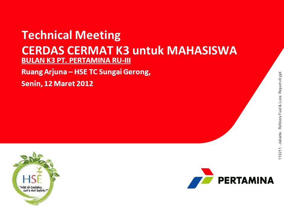 110211 - Jakarta - Refinery Fuel & Loss Report v0.ppt Technical Meeting CERDAS CERMAT K3 untuk MAHASISWA BULAN K3 PT.