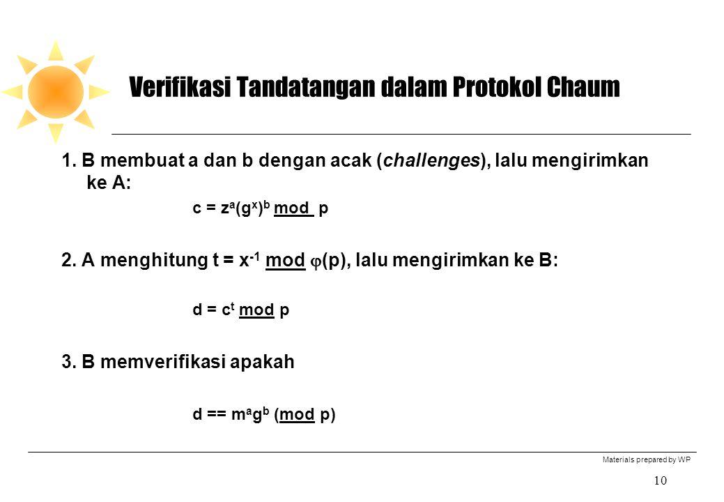 Materials prepared by WP 10 Verifikasi Tandatangan dalam Protokol Chaum 1. B membuat a dan b dengan acak (challenges), lalu mengirimkan ke A: c = z a