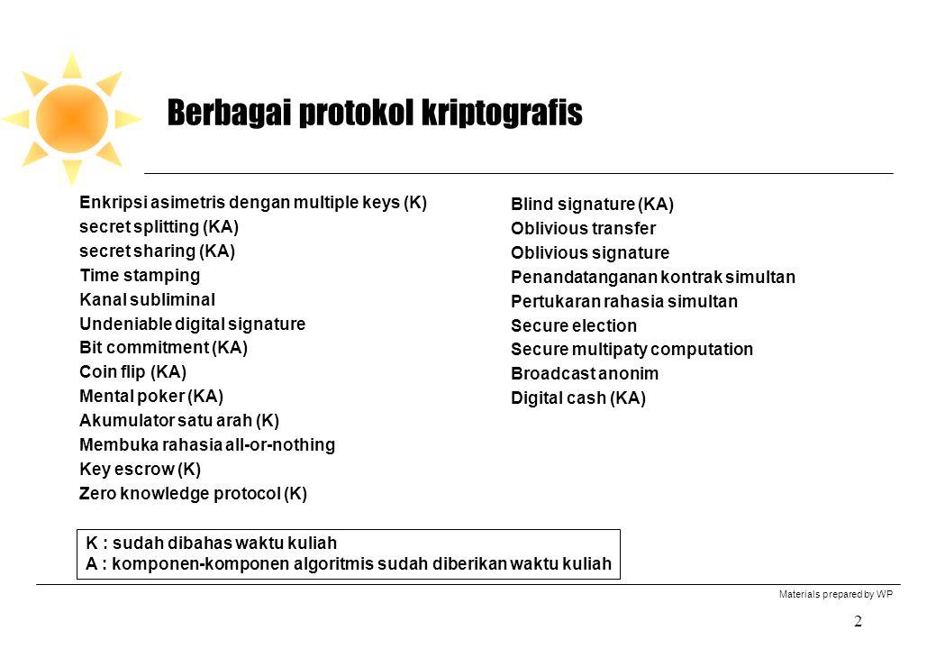 Materials prepared by WP 2 Berbagai protokol kriptografis Enkripsi asimetris dengan multiple keys (K) secret splitting (KA) secret sharing (KA) Time s