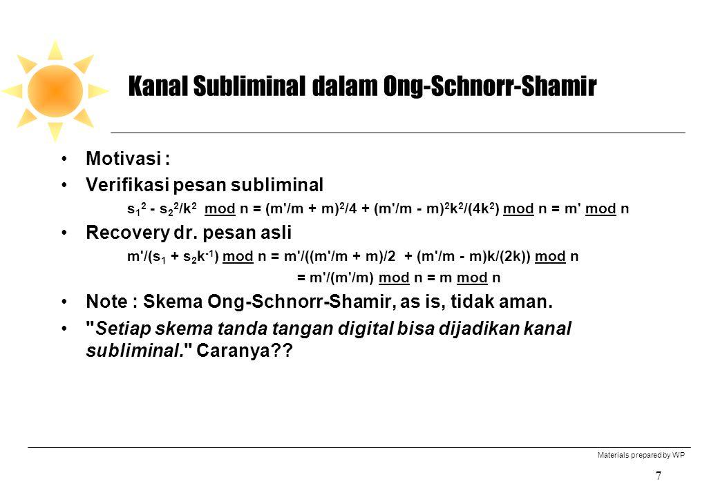 Materials prepared by WP 7 Kanal Subliminal dalam Ong-Schnorr-Shamir Motivasi : Verifikasi pesan subliminal s 1 2 - s 2 2 /k 2 mod n = (m'/m + m) 2 /4