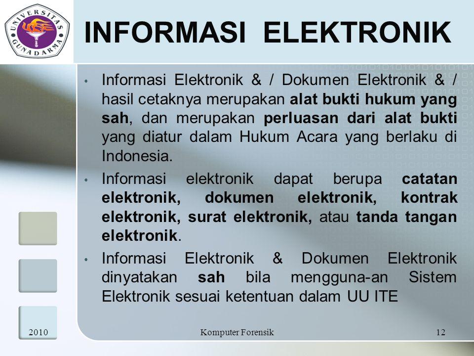 INFORMASI ELEKTRONIK Informasi Elektronik & / Dokumen Elektronik & / hasil cetaknya merupakan alat bukti hukum yang sah, dan merupakan perluasan dari
