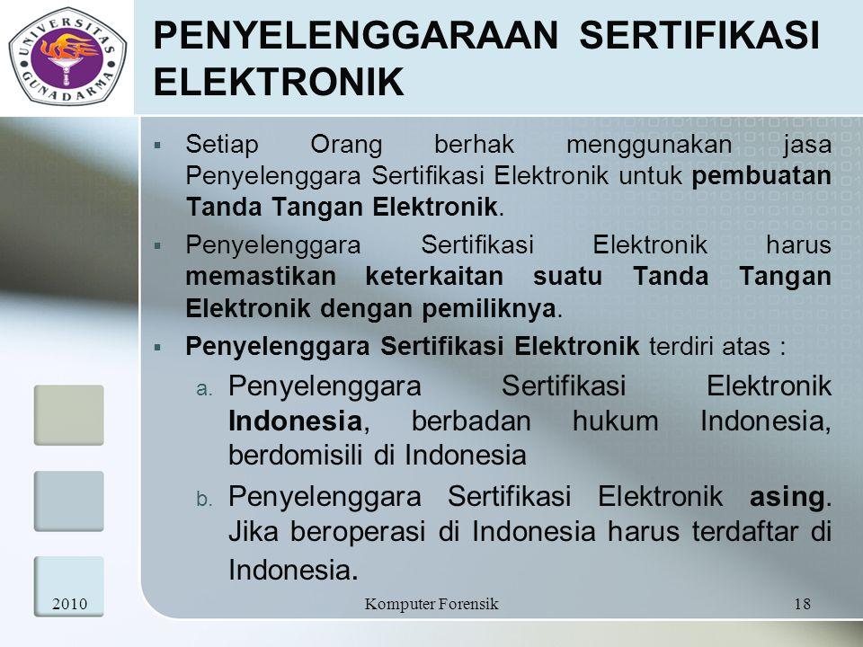 PENYELENGGARAAN SERTIFIKASI ELEKTRONIK  Setiap Orang berhak menggunakan jasa Penyelenggara Sertifikasi Elektronik untuk pembuatan Tanda Tangan Elektr
