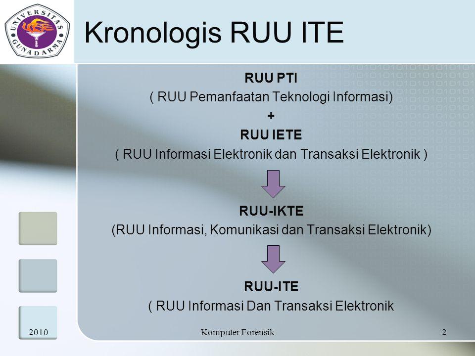 Kronologis RUU ITE RUU PTI ( RUU Pemanfaatan Teknologi Informasi) + RUU IETE ( RUU Informasi Elektronik dan Transaksi Elektronik ) RUU-IKTE (RUU Infor