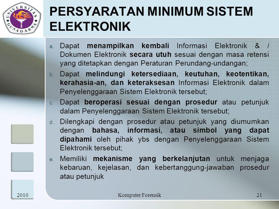 PERSYARATAN MINIMUM SISTEM ELEKTRONIK a. Dapat menampilkan kembali Informasi Elektronik & / Dokumen Elektronik secara utuh sesuai dengan masa retensi