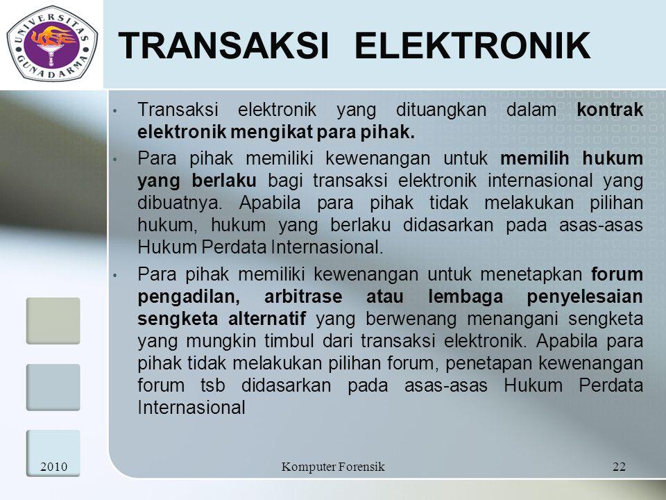 TRANSAKSI ELEKTRONIK Transaksi elektronik yang dituangkan dalam kontrak elektronik mengikat para pihak. Para pihak memiliki kewenangan untuk memilih h