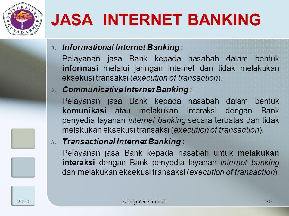 JASA INTERNET BANKING 1. Informational Internet Banking : Pelayanan jasa Bank kepada nasabah dalam bentuk informasi melalui jaringan internet dan tida