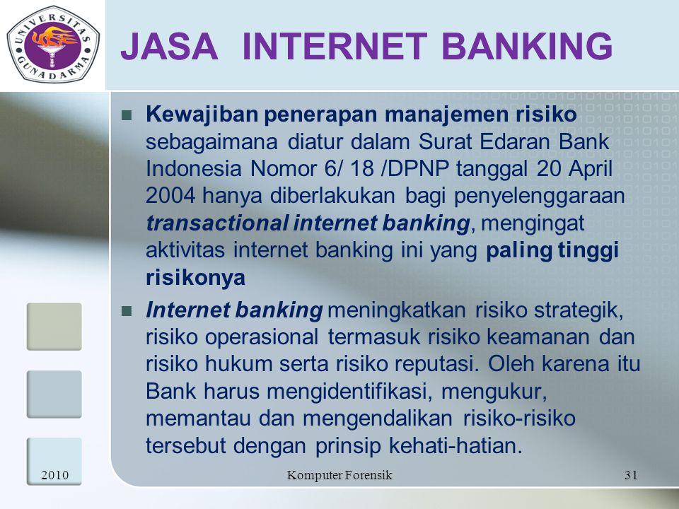 JASA INTERNET BANKING Kewajiban penerapan manajemen risiko sebagaimana diatur dalam Surat Edaran Bank Indonesia Nomor 6/ 18 /DPNP tanggal 20 April 200