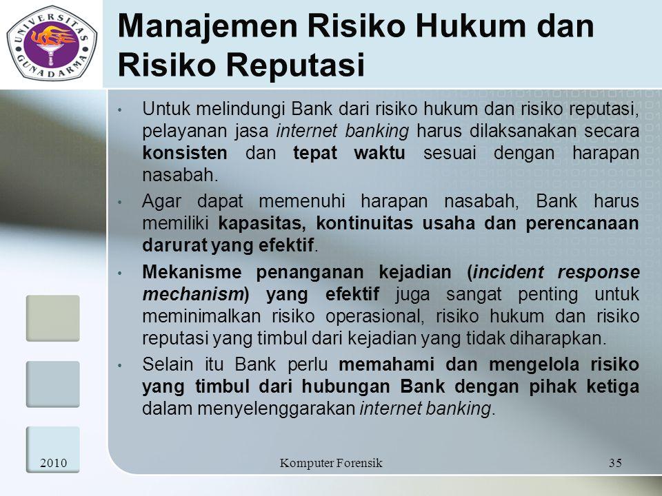 Manajemen Risiko Hukum dan Risiko Reputasi Untuk melindungi Bank dari risiko hukum dan risiko reputasi, pelayanan jasa internet banking harus dilaksan