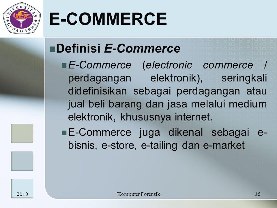 E-COMMERCE Definisi E-Commerce E-Commerce (electronic commerce / perdagangan elektronik), seringkali didefinisikan sebagai perdagangan atau jual beli