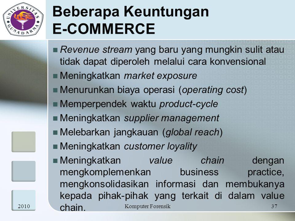 Beberapa Keuntungan E-COMMERCE Revenue stream yang baru yang mungkin sulit atau tidak dapat diperoleh melalui cara konvensional Meningkatkan market ex