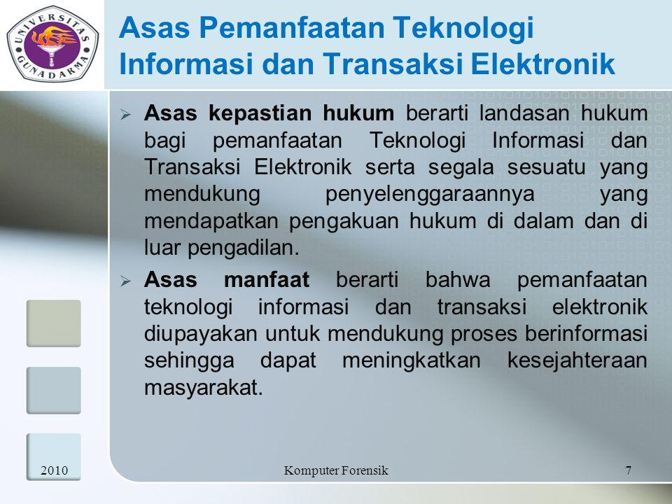 Asas Pemanfaatan Teknologi Informasi dan Transaksi Elektronik  Asas kepastian hukum berarti landasan hukum bagi pemanfaatan Teknologi Informasi dan T