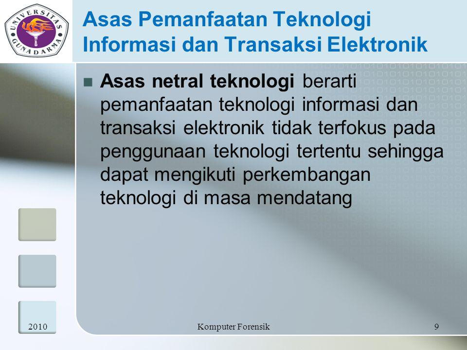Asas Pemanfaatan Teknologi Informasi dan Transaksi Elektronik Asas netral teknologi berarti pemanfaatan teknologi informasi dan transaksi elektronik t