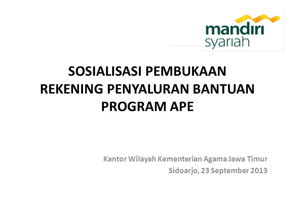 SOSIALISASI PEMBUKAAN REKENING PENYALURAN BANTUAN PROGRAM APE Kantor Wilayah Kementerian Agama Jawa Timur Sidoarjo, 23 September 2013