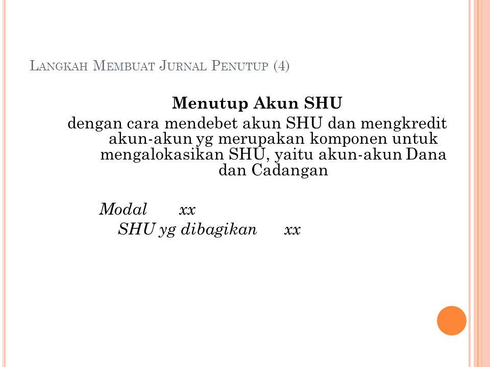 L ANGKAH M EMBUAT J URNAL P ENUTUP (4) Menutup Akun SHU dengan cara mendebet akun SHU dan mengkredit akun-akun yg merupakan komponen untuk mengalokasi