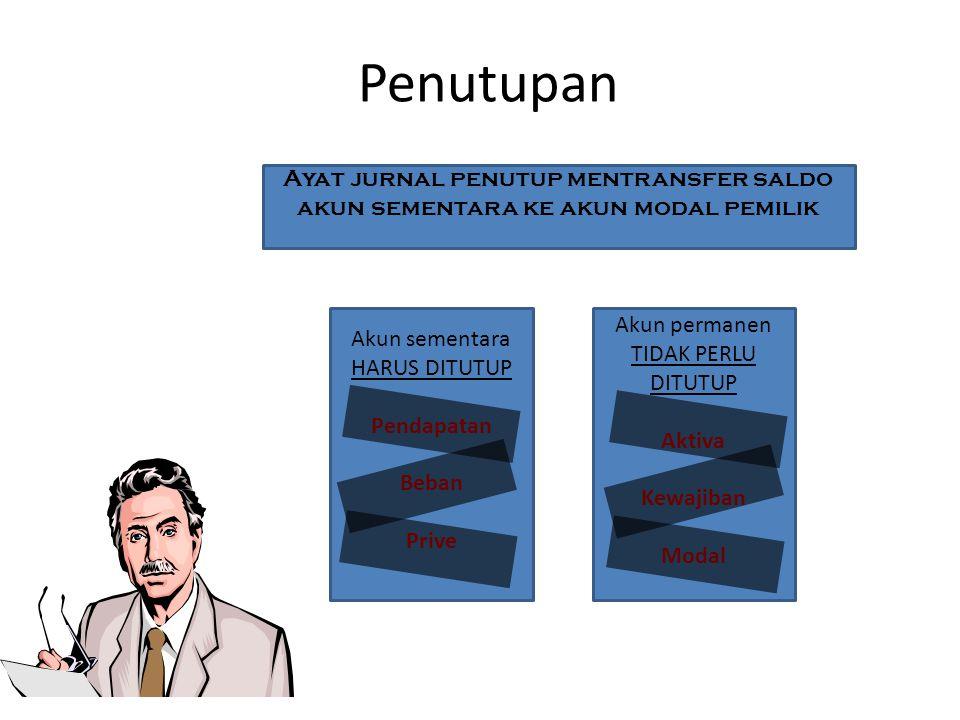 Penutupan Ayat jurnal penutup mentransfer saldo akun sementara ke akun modal pemilik Akun sementara HARUS DITUTUP Pendapatan Beban Prive Akun permanen