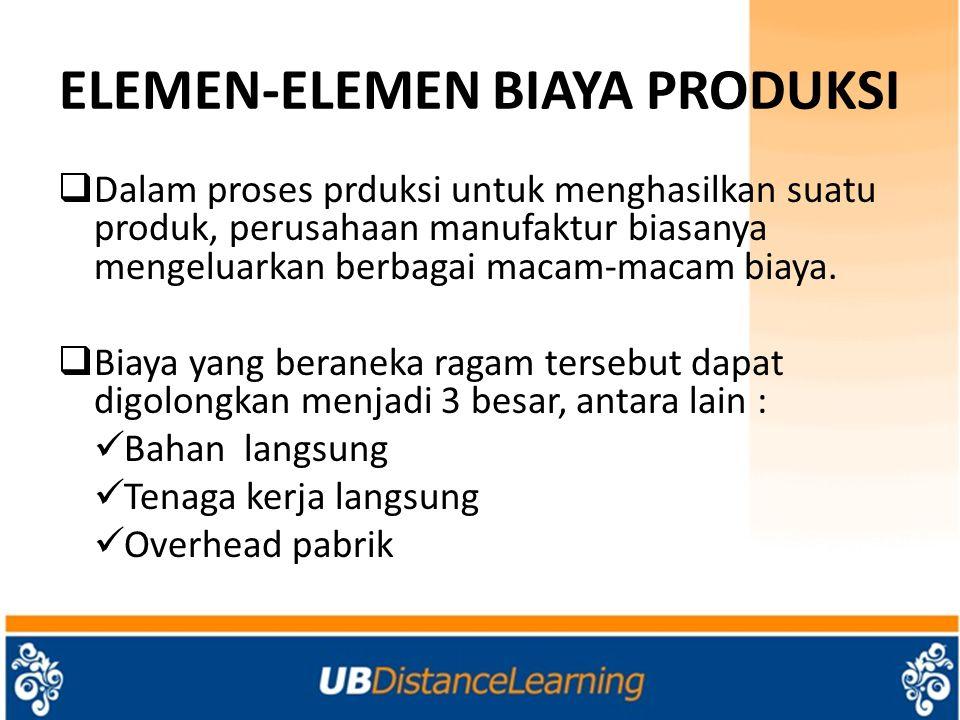 ELEMEN-ELEMEN BIAYA PRODUKSI  Dalam proses prduksi untuk menghasilkan suatu produk, perusahaan manufaktur biasanya mengeluarkan berbagai macam-macam