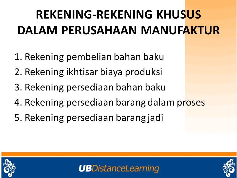 REKENING-REKENING KHUSUS DALAM PERUSAHAAN MANUFAKTUR 1. Rekening pembelian bahan baku 2. Rekening ikhtisar biaya produksi 3. Rekening persediaan bahan