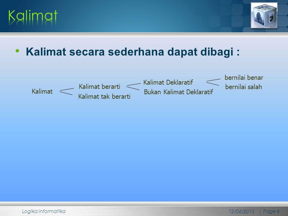 Kalimat secara sederhana dapat dibagi : 12/04/2015 Logika Informatika | Page 4 Kalimat Kalimat berarti Kalimat tak berarti Kalimat Deklaratif Bukan Ka
