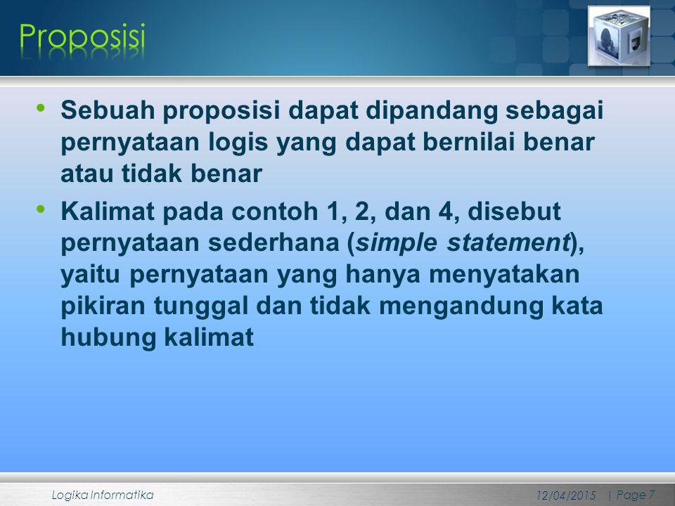 Sebuah proposisi dapat dipandang sebagai pernyataan logis yang dapat bernilai benar atau tidak benar Kalimat pada contoh 1, 2, dan 4, disebut pernyata