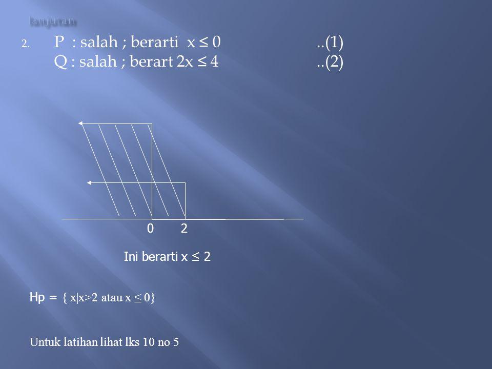  Tentukan HP dari (x>0) (2x > 4) bernilai benar jawab: Misal p : (x>0) q : (2x > 4) Agar p --- q bernilai benar : Ada 2 kemungkinan : 1. P : benar ;