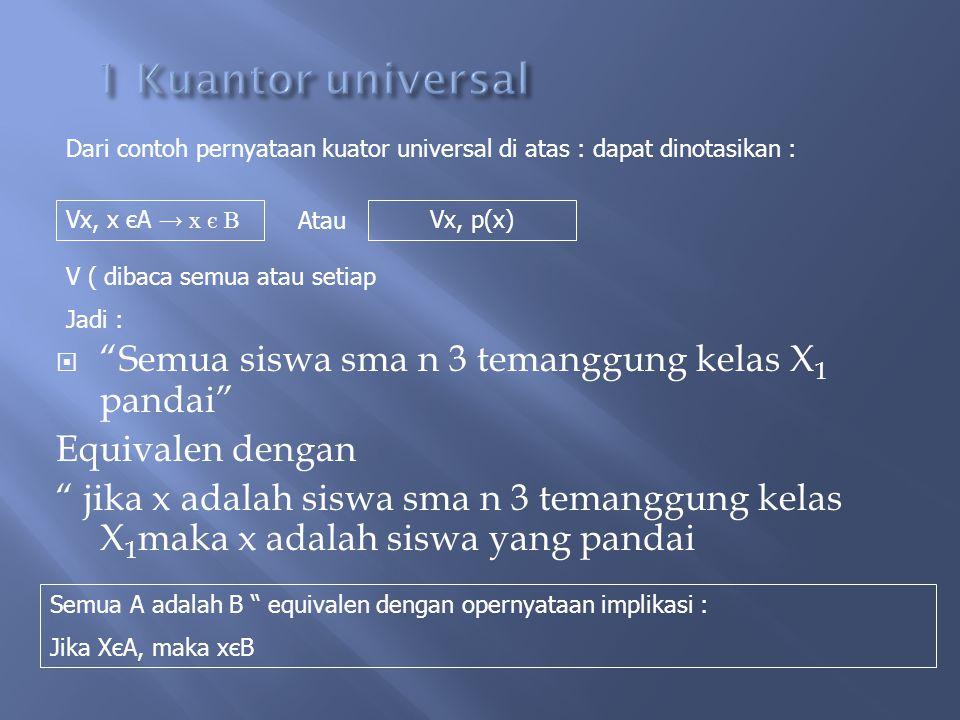 """ Kuantor universal dan kuantor exsistensial Simaklah prnyataan berikut 1. """"Semua siswa sma n 3 temanggung kelas X 1 adalah siswa yang pandai""""  Perny"""
