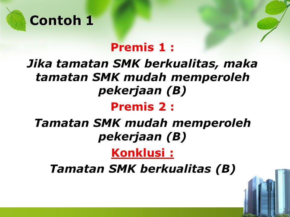 Contoh 1 Premis 1 : Jika tamatan SMK berkualitas, maka tamatan SMK mudah memperoleh pekerjaan (B) Premis 2 : Tamatan SMK mudah memperoleh pekerjaan (B
