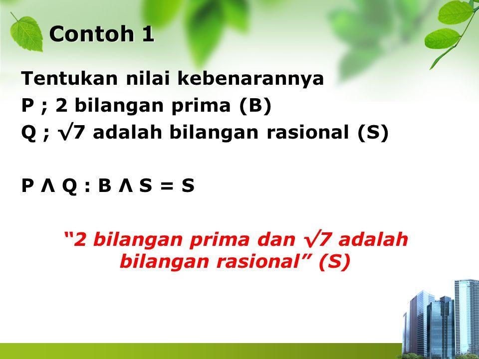 """Contoh 1 Tentukan nilai kebenarannya P ; 2 bilangan prima (B) Q ; √7 adalah bilangan rasional (S) P Λ Q : B Λ S = S """"2 bilangan prima dan √7 adalah bi"""