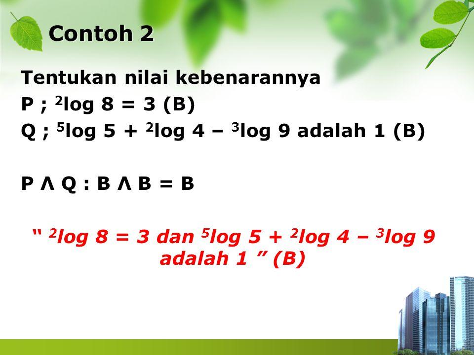 "Contoh 2 Tentukan nilai kebenarannya P ; 2 log 8 = 3 (B) Q ; 5 log 5 + 2 log 4 – 3 log 9 adalah 1 (B) P Λ Q : B Λ B = B "" 2 log 8 = 3 dan 5 log 5 + 2"