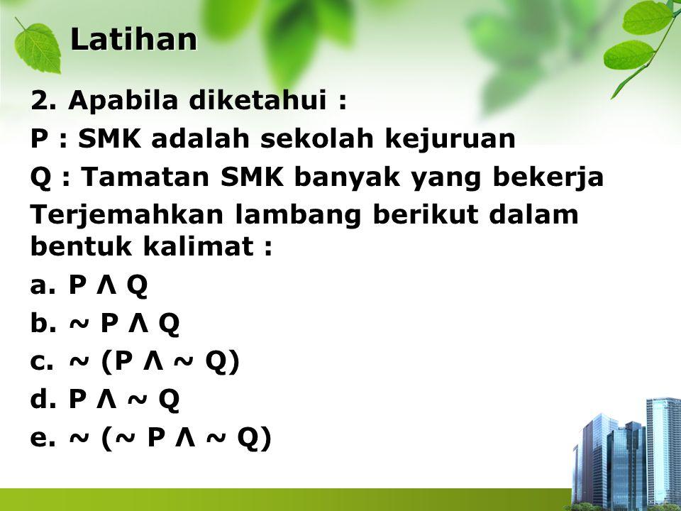 Latihan 2.Apabila diketahui : P : SMK adalah sekolah kejuruan Q : Tamatan SMK banyak yang bekerja Terjemahkan lambang berikut dalam bentuk kalimat : a