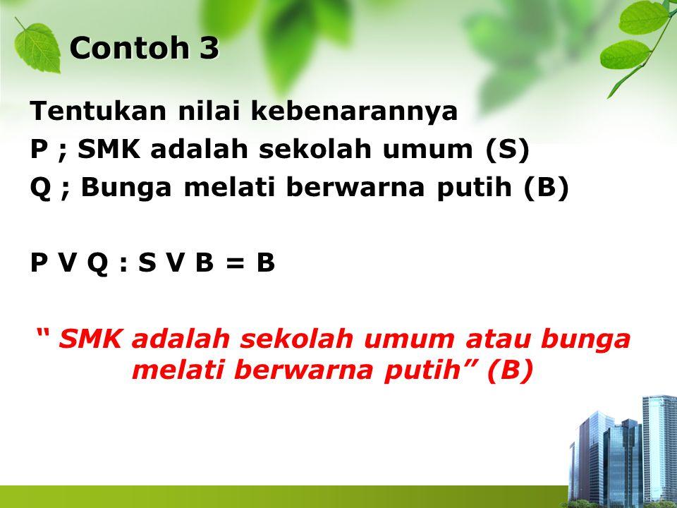 """Contoh 3 Tentukan nilai kebenarannya P ; SMK adalah sekolah umum (S) Q ; Bunga melati berwarna putih (B) P V Q : S V B = B """" SMK adalah sekolah umum a"""