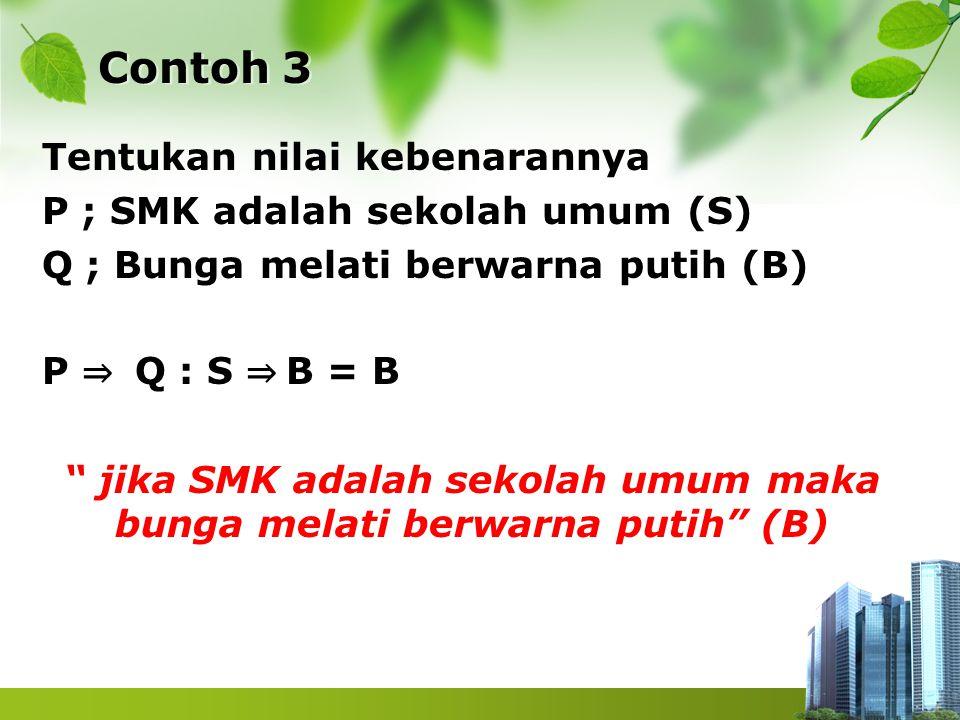 """Contoh 3 Tentukan nilai kebenarannya P ; SMK adalah sekolah umum (S) Q ; Bunga melati berwarna putih (B) P ⇒ Q : S ⇒ B = B """" jika SMK adalah sekolah u"""