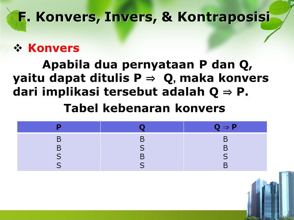  Konvers Apabila dua pernyataan P dan Q, yaitu dapat ditulis P ⇒ Q, maka konvers dari implikasi tersebut adalah Q ⇒ P. Tabel kebenaran konvers F. Kon