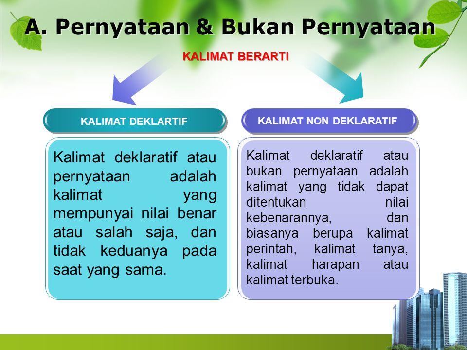 A. Pernyataan & Bukan Pernyataan KALIMAT DEKLARTIF KALIMAT NON DEKLARATIF Kalimat deklaratif atau bukan pernyataan adalah kalimat yang tidak dapat dit