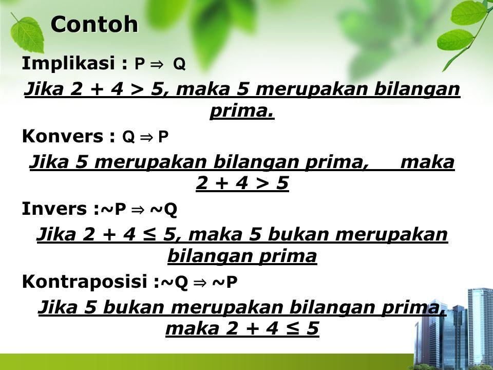 Contoh Implikasi : P ⇒ Q Jika 2 + 4 > 5, maka 5 merupakan bilangan prima. Konvers : Q ⇒ P Jika 5 merupakan bilangan prima, maka 2 + 4 > 5 Invers : ~P