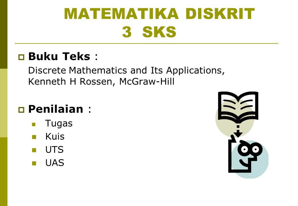 MATEMATIKA DISKRIT 3 SKS  Buku Teks : Discrete Mathematics and Its Applications, Kenneth H Rossen, McGraw-Hill  Penilaian : Tugas Kuis UTS UAS