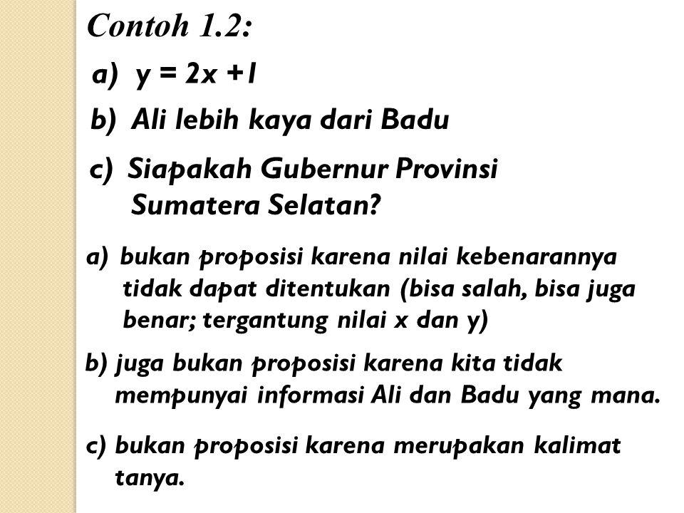Contoh 1.2: a) y = 2x +1 b) Ali lebih kaya dari Badu c)Siapakah Gubernur Provinsi Sumatera Selatan.