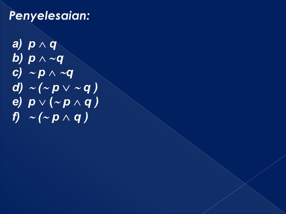 Penyelesaian: a)p  q b)p   q c)  p   q d)  (  p   q ) e)p  (  p  q ) f)  (  p  q )
