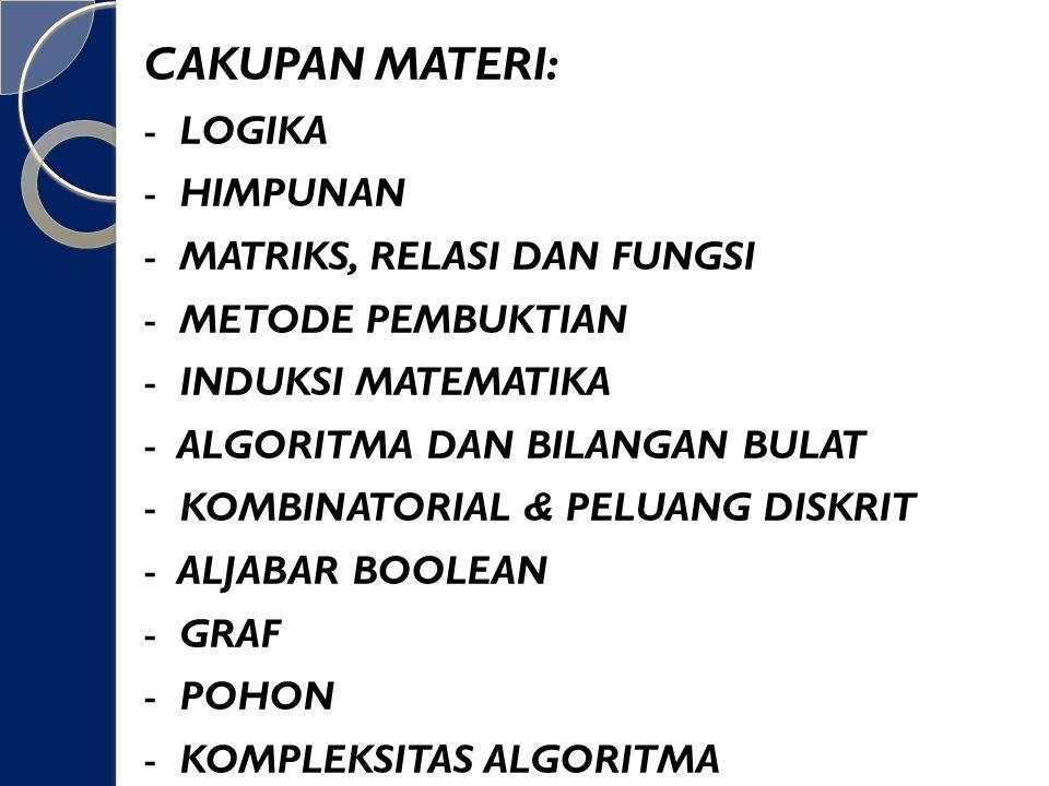 CAKUPAN MATERI: - LOGIKA - HIMPUNAN - MATRIKS, RELASI DAN FUNGSI - METODE PEMBUKTIAN - INDUKSI MATEMATIKA - ALGORITMA DAN BILANGAN BULAT - KOMBINATORIAL & PELUANG DISKRIT - ALJABAR BOOLEAN - GRAF - POHON - KOMPLEKSITAS ALGORITMA