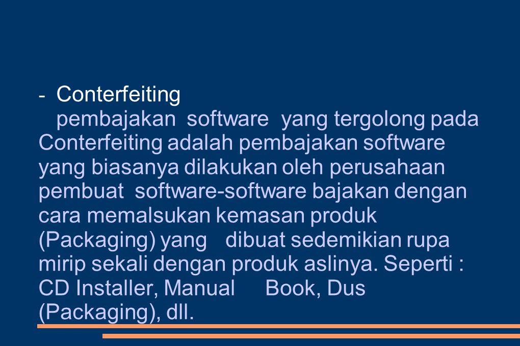 - Conterfeiting pembajakan software yang tergolong pada Conterfeiting adalah pembajakan software yang biasanya dilakukan oleh perusahaan pembuat software-software bajakan dengan cara memalsukan kemasan produk (Packaging) yang dibuat sedemikian rupa mirip sekali dengan produk aslinya.