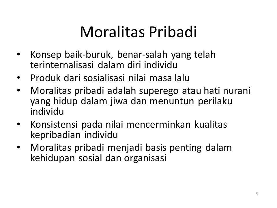 Moralitas Pribadi Konsep baik-buruk, benar-salah yang telah terinternalisasi dalam diri individu Produk dari sosialisasi nilai masa lalu Moralitas pri